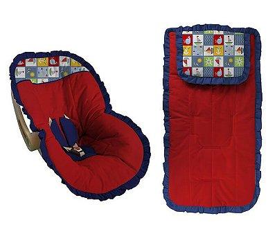 Conjunto Capa Bebê Conforto e capa carrinho Vermelho Navy Babado Marinho