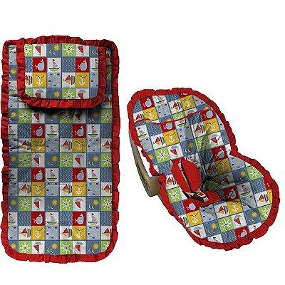 Conjunto Capa Bebê Conforto e capa carrinho Navy com Babado Vermelho