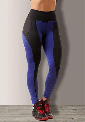 Legging Azul e Preto com Bolso Poliamida