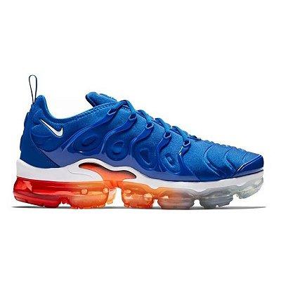 Tênis Nike Air VaporMax Plus - Azul e Vermelho com Laranja