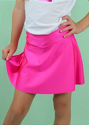 Shorts Saia Rosa Pink Brilhante Cirré