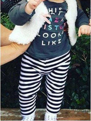 Legging infantil Listras Preta e Branca