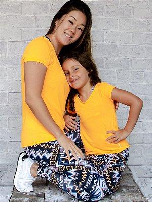 T-shirt Infantil Crepe Laranja Neon