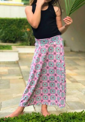 Saia Shorts Midi Rosa Estampada Crepe Infantil