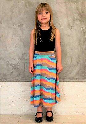 Saia Shorts Midi Listras Praia Crepe Infantil