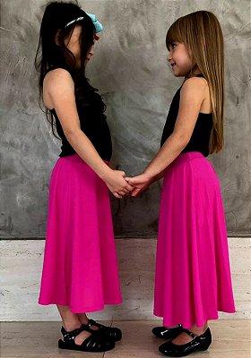 Saia Shorts Midi Rosa Pink Crepe Infantil