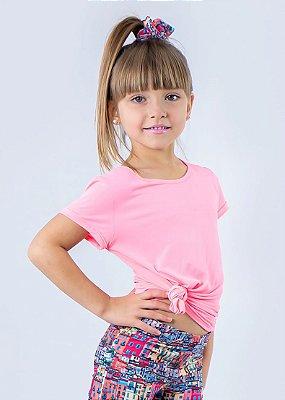 T-shirt Infantil Crepe Coral Neon