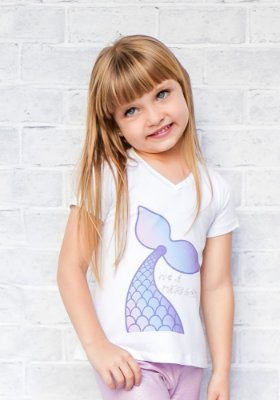 T-shirt Infantil Cauda Sereia Collab Amanda Lino