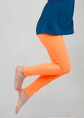 Legging Infantil Laranja Efeito Molhado Brilhante