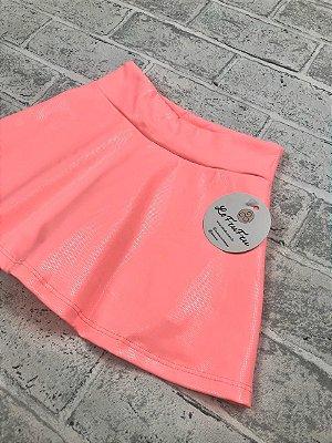 Shorts Saia Coral Com Brilho Efeito Molhado