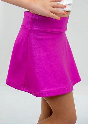 Shorts Saia Infantil Rosa Fucsia Cirrê Brilhante