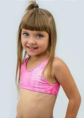 Top Infantil Pink Com Aplicação Em Brilho