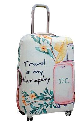 Capa Protetora Para Mala Personalizada Travel Theraphy
