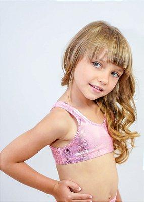 Top Infantil Brilho Dourado Barbie