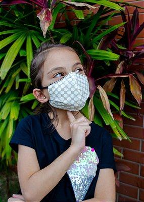Máscara Infantil Poa Bege