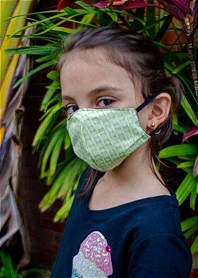 Máscara Infantil Estampada Verde