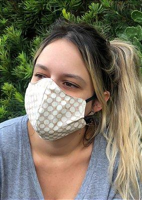Máscara Feminina Estampada Bege