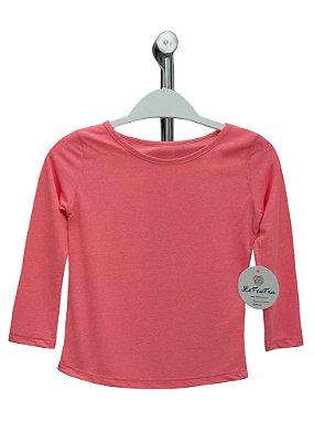 T-shirt Infantil Crepe Coral Mescla Manga Longa