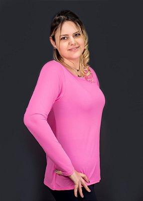 T-shirt Adulto Crepe Rosa Chiclete Manga Longa
