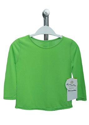 T-shirt Infantil Crepe Verde Neon Manga Longa