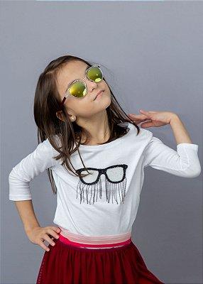 Manga 3/4 Infantil Com Aplicação de Óculos