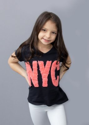 T-shirt Infantil Preta NYC