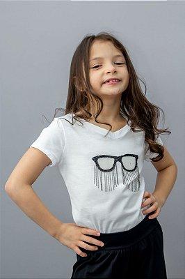 T-shirt Infantil Com Aplicação de Óculos