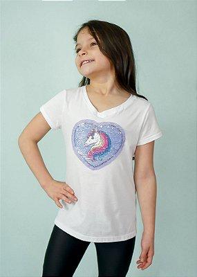 T-shirt Infantil Unicórnio Coração Branca