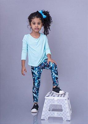 Legging Estampa Penas Azuis Infantil
