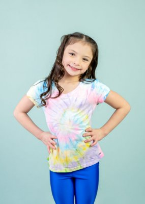 T-shirt Em Visco Infantil Tie Dye Neon