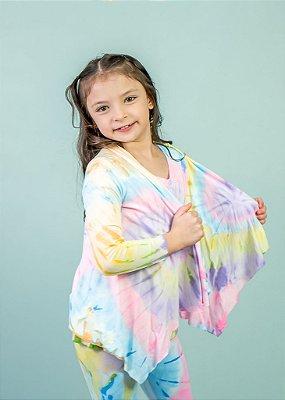 Cardigan Tie Dye Neon em Visco Infantil