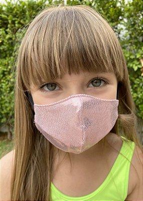 Máscara Infantil Rosê Brilhante