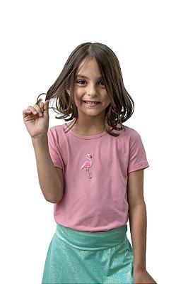T-shirt em crepe Flamingo Rosa Manga Curta