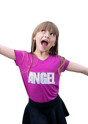 T-shirt Decote em V Pink com aplicação bordado Angel
