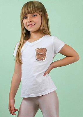 T-shirt Branca Com Bolso Lantejoulas Reversível