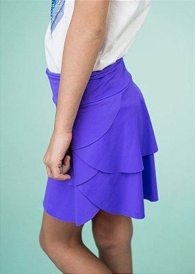 Shorts Saia Em Camadas Lavanda