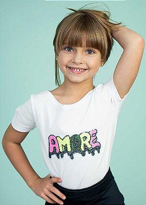 T-shirt Decote Canoa com Aplicação Amore