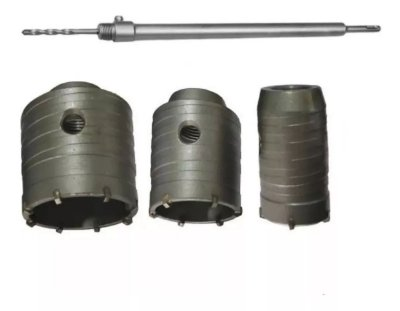 Kit Serra Copo Videa 5 Pç De 35mm A 55mm Haste 25cm Sds Plus