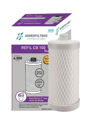 REFIL CB 100 CARBON BLOCK 5 ROSCA 5 MICRA HIDRO FILTROS