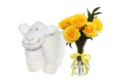 Almofada e flores