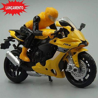 Miniatura Yamaha YZF-R1 Amarelo Caipo 1:18 + Piloto