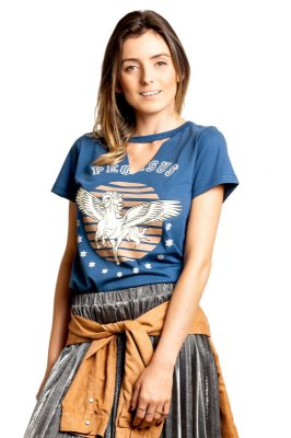 Camiseta Choker Pegasus Azul Índigo