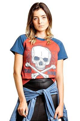 Camiseta Raglan Caveira Marsala