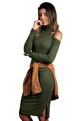 Vestido Midi Fenda Recorte Ombro Verde Militar