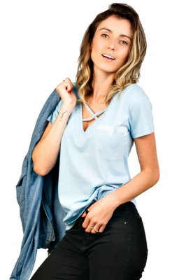 Camiseta V Strappy Honey Baby Azul Claro