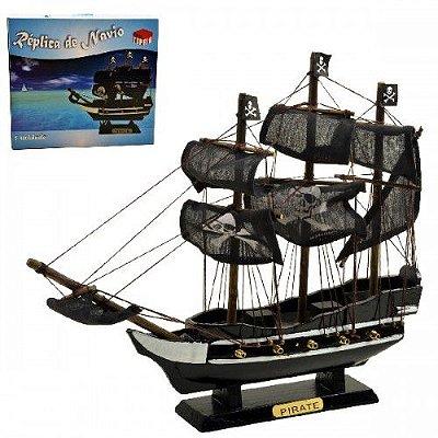 Navio Pirata Caravela De Madeira 30cm