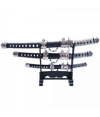 Conjunto 3 Mini Espadas Decorativas Branca