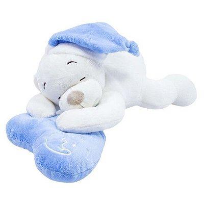 Pelúcia Urso Dormindo No Coração Azul 33cm