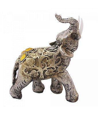 Elefante Dourado Arabesco Esquerdo de Resina 10cm