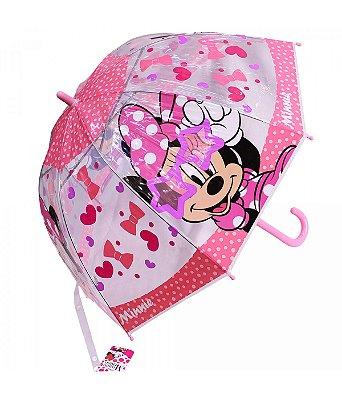 Guarda Chuva Minnie Rosa Transparente- Disney
